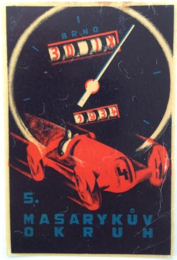 "Label for the ""5. Masaryk?v okruh Brno on 30 IX 1934"" (5th Masaryk Circuity Brno 30 September 1934"
