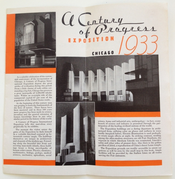 See Chicago and A Century of Progress Exposition - Use Chicago Surface Lines Brochure - Opened Intro