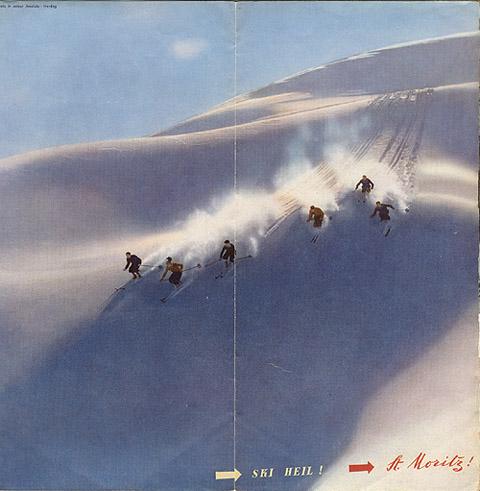 """Travel brochure for """"St. Moritz,"""" 1935, Back Cover by Walter Herdeg and Walter Amstutz"""