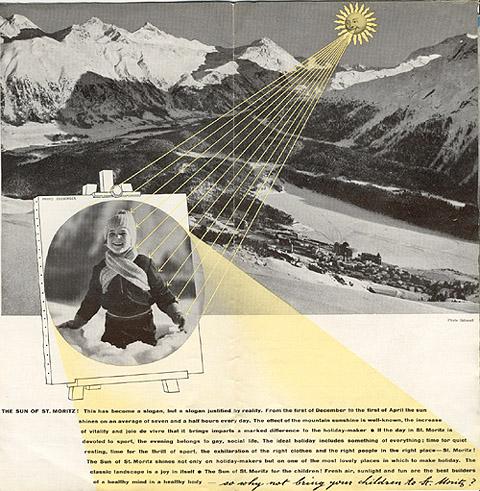 "Travel brochure for ""St. Moritz,"" 1935, Inside View Two by Walter Herdeg and Walter Amstutz"