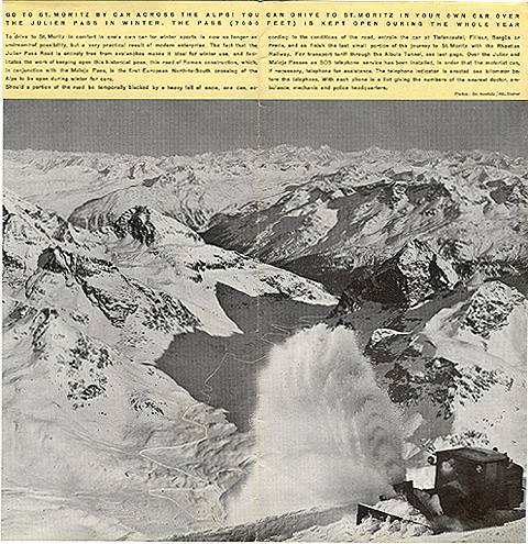 """Travel brochure for """"St. Moritz,"""" 1935, Inside View Four by Walter Herdeg and Walter Amstutz"""