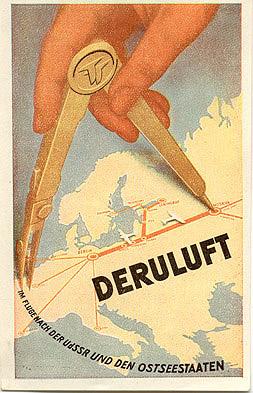 Luggage label for Deruluft Airlines (Deutsch-Russische Luftverkehrsgesellschaft), circa 1932, in German