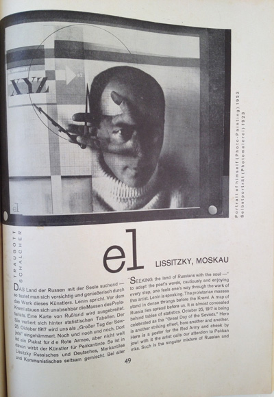 El Lissitzky article from the December 1928 issue of Gebrauchsgraphik, View One