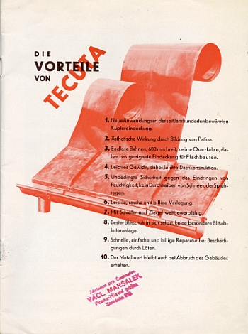 "Booklet for ""Tecuta - The New Copper Bronze Roof - Tecuta"", 1929 by Hans Leistikow, View One"