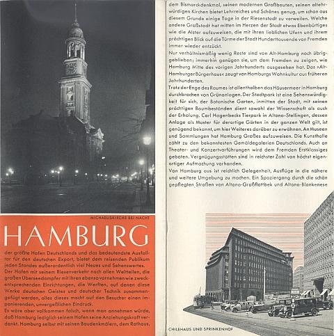 Travel brochure for Hamburg, 1930s Inside View