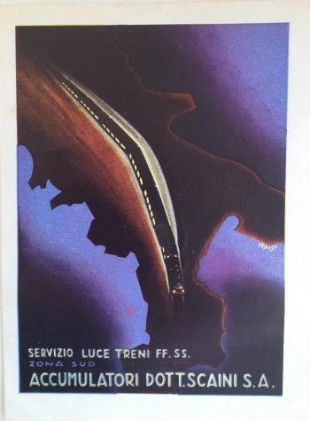 """Ad, """"Servizio Luce Trene FF. SS. Zona Sud Accumulatori Dott.Scaini S.A."""", circa 1934, signed """"Bassi"""""""
