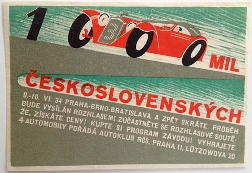 1000 miles through Czechoslovakia  race. 9 - 10 June 1934 Prague - Brno - Bratislava and back 2 times