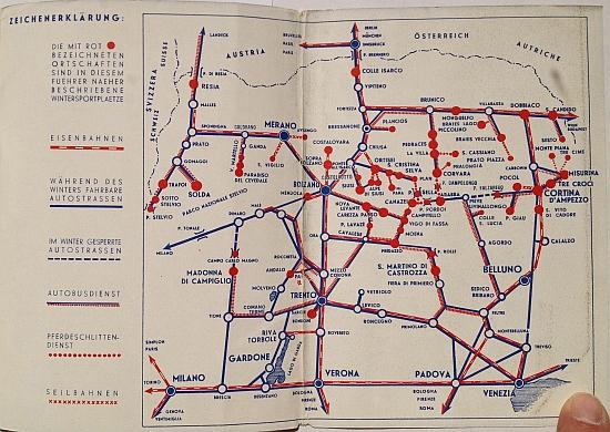 Wintersport in Den Dolmiten, 1937, design by Mario Puppo, Regional Map Inside