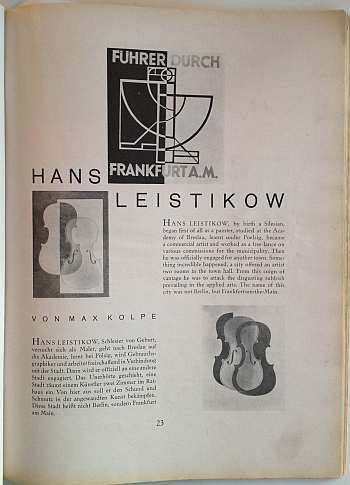 Gebrauchsgraphik article, October 1929 on Hans Leisitow, View One