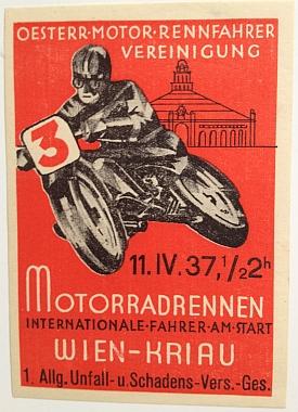 Austrian Motor Racing Association, 11 April 1937 1:30PM, Motorcycle Race at Vienna-Kriau.