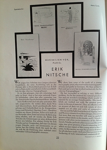 Gebrauchsgraphik December 1929, article on Erik Nitsche