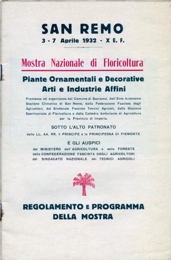"""San Remo, """"Mostra Nazionale di Floricoltura,"""" 1932, Intro"""
