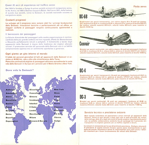 Swissair Brochure 1953, Inside View