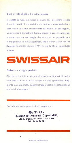 Swissair Brochure 1953, Back Cover