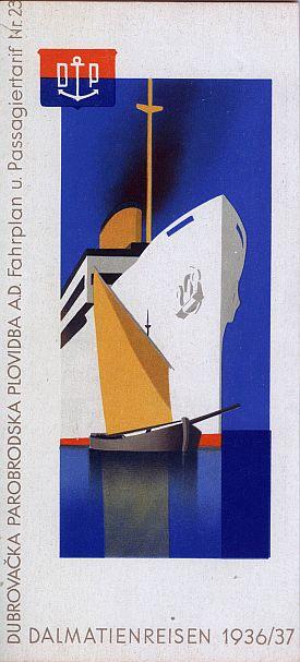 Hans Wagula: Dalmatian Cruises Brochure, 1936, Cover View Two