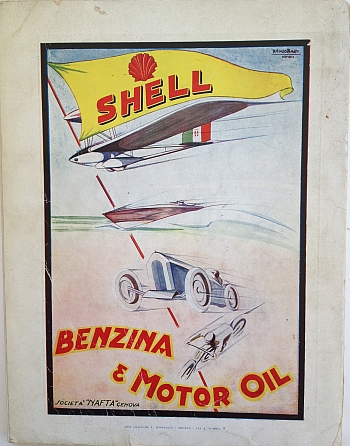 Shell Motor Oil Ad from Italy, 1928 by Renzo Bassi