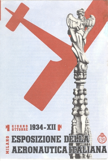 """Milano - Esposizione della Aeronautica Italiana, Giugno Ottobre 1934 - XII"" (Italian Aeronautical Exhibition in Milan, July - October 1934,"