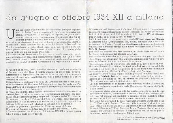 """""""Milano - Esposizione della Aeronautica Italiana, Giugno Ottobre 1934 - XII"""" (Italian Aeronautical Exhibition in Milan, July - October 1934, Inside View"""