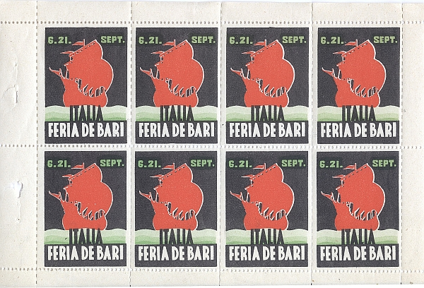 Sheet of Poster Stamps: Feria de Bari - Italia, 1930s