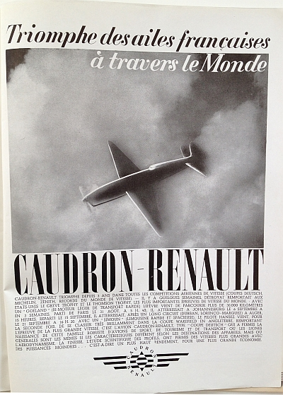 Air France Magazine Hiver (Winter) 1936 / 37 Ad for Caudron-Renault Aircraft