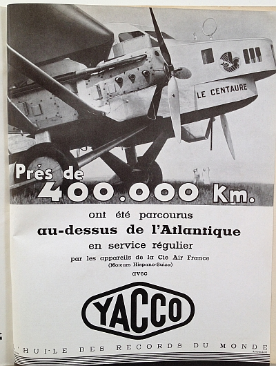 Air France Magazine Hiver (Winter) 1936 / 37 Ad for Yacco oil