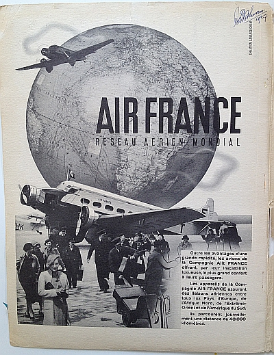 Air France Magazine Hiver (Winter) 1936 / 37 Inside Page 1 - Ad for Air France itself