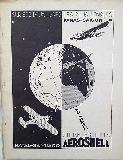 Air France Magazine Hiver (Winter) 1936 / 37 Ad for Aeroshell Oils