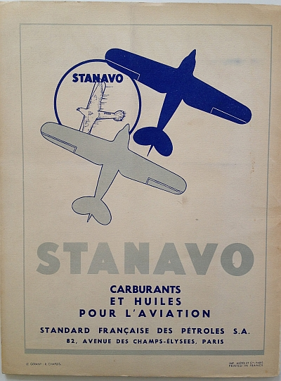 Air France Magazine Hiver (Winter) 1936 / 37 Ad for Stanovo Oils