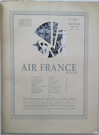 Air France Magazine Hiver (Winter) 1936 / 37 Table of Contents