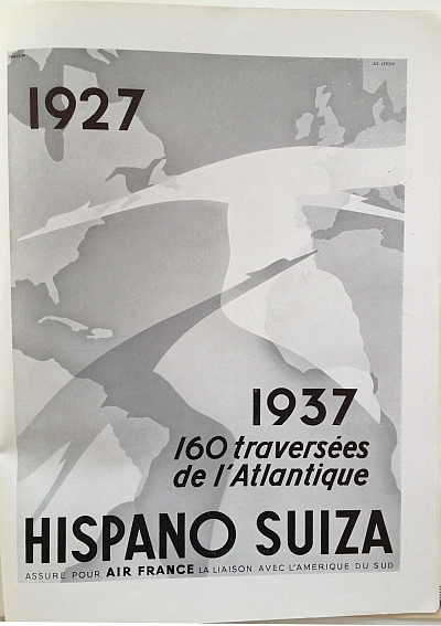 """Air France Magazine Hiver (Winter) 1936 / 37 Ad for Hispano Suiza (""""160 cross the Atlantic"""")"""