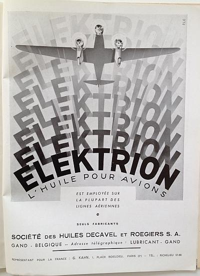 Air France Magazine Hiver (Winter) 1936 / 37 Ad for Elektrion Oil