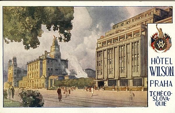 Postcard, Hotel Wilson Prague, circa 1935