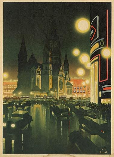 Berlin, Evening near the Kaiser Wilhelm Memorial Church, 1936, by Jupp Wiertz