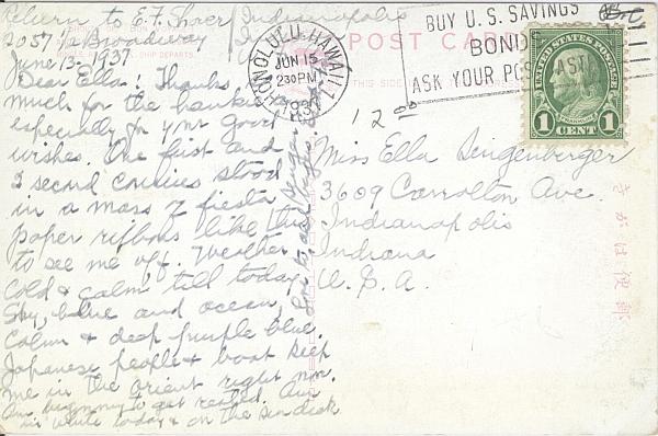 Postcard, N.Y.K. Lines Postcard circa 1937, Back