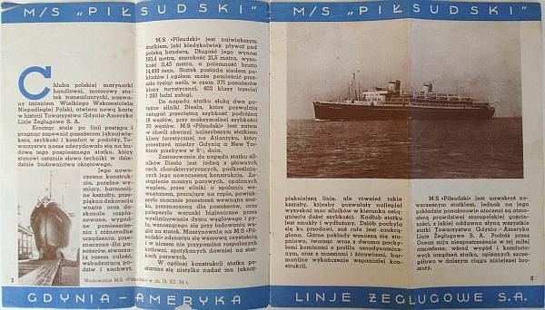 "M/S ""Pi?sudski"", 1935 Brochure, Inside View One"