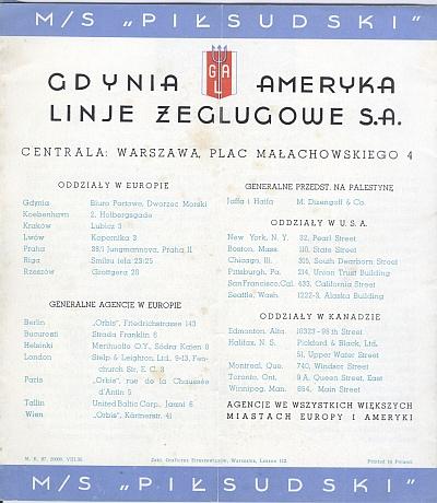 """M/S """"Pi?sudski"""", 1935 Brochure, Back Cover"""