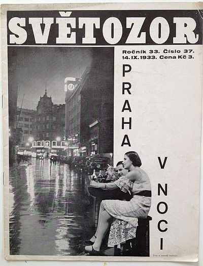 "Sv?tozor, 14 September 1933, Front Cover ""Praha v noci / Prague by Night"""