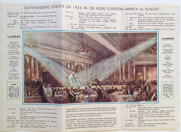 "Savoy Hotel Brochure, 1933 Variant A, Interior Listing the ""Outstanding Events of 1933 In or Near London"""