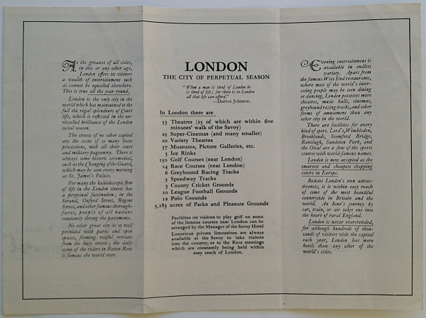 "Savoy Hotel Brochure,1933 Variant B, inside view ""London - The City of Perpetual Season"""
