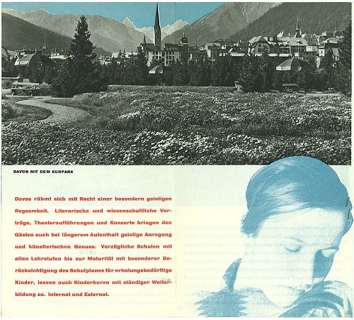 Davos Travel Brochure by Herbert Matter, circa 1935 View Three, with Trudi Hess inb the photo on the lower right