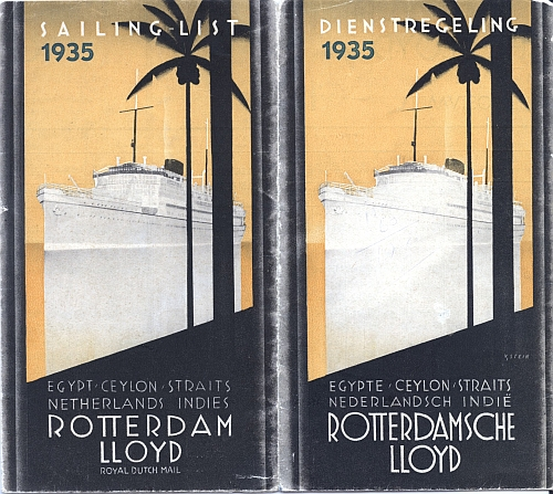 Rotterdam Lloyd Royal Dutch Mail, Sailing List 1935, Front Cover