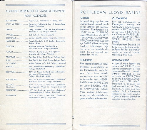 Rotterdam Lloyd Royal Dutch Mail, Sailing List 1935, Inside View