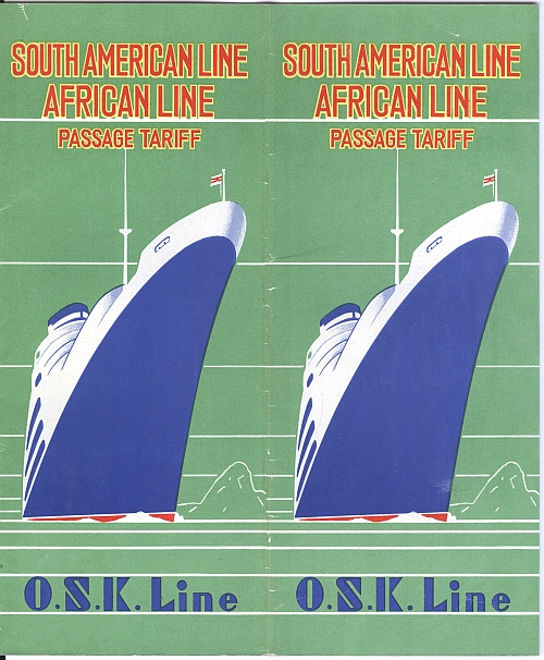 O.S.K. Line Brochure, South American Line, African Line, 1932. Front Cover