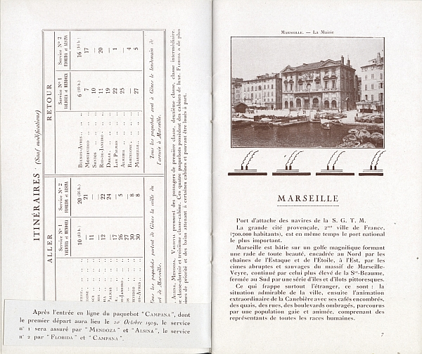 "Travel brochure ""L'Amerique du Sud par Marseille,"" 1929. Inside View Three"