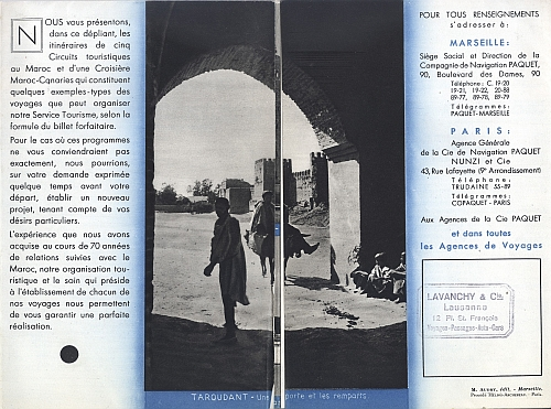 "Travel brochure ""Au Maroc - Circuits d'Hiver et de Printemps,"" 1932.  Published by ""Cie. de Navigation Paquet, Marseille - Paris.""  Inside View One"