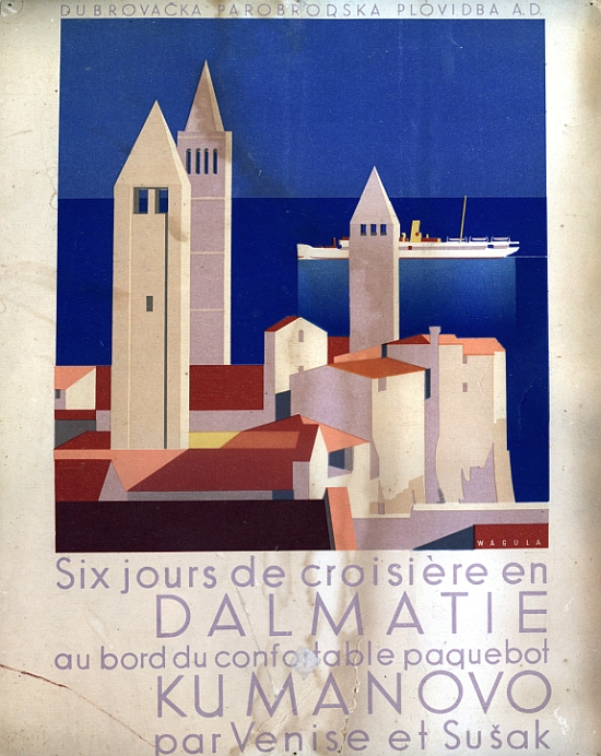 Mini-Poster by Hans Wagula for Dalmatian Cruises on Dubrova?ka Parobrodska Plovidba, 1936