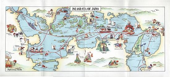 Inland Sea O.S.K. Line (Osaka Shosen Kaisha), March 1933. Gatefold Map (Click)