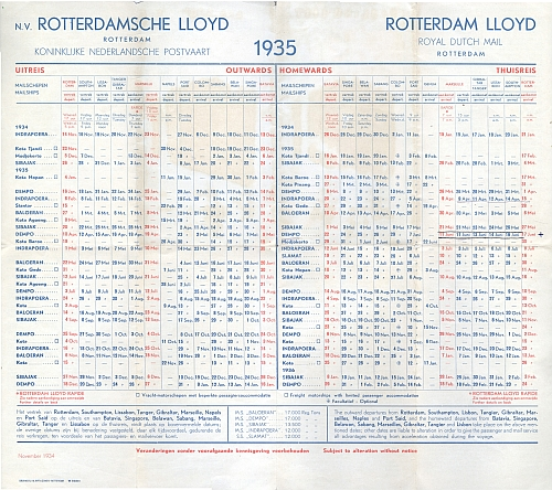Rotterdam Lloyd Royal Dutch Mail, Sailing List 1935, Timetable