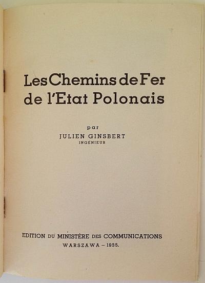 Booklet: Les Chemins de Fer de l'Etat Polonais, 1935. Intro Page