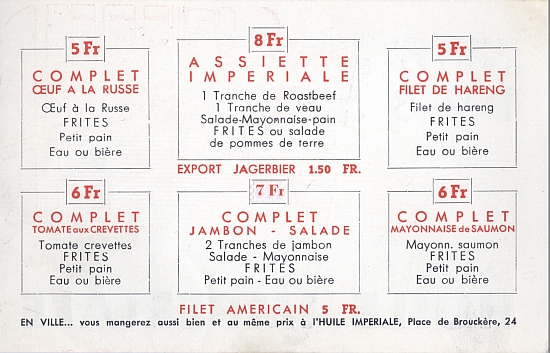 Brochure for Pavillion Huile Imperiale - Exposition de Bruxelles 1935 - Inside Menu